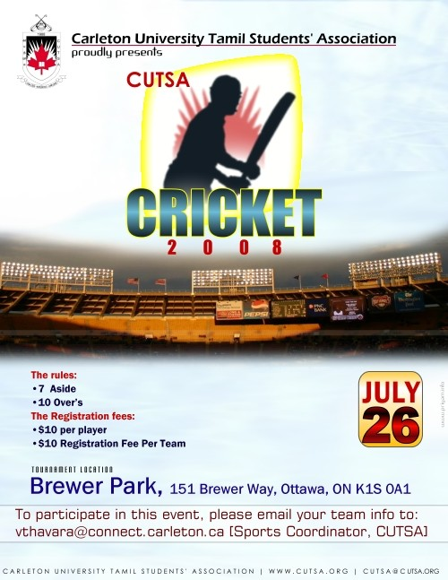 Invitation For Corporate Cricket Tournament: CUTSA TENNIS BALL CRICKET TOURNAMENT